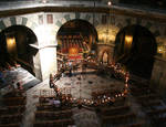 Aachen Cathedral, looking down on the center and chandelier, Palatine Chapel,