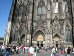 Cologne (Koln) Cathedral of St. Peter and St. Mary, detail of west facade High Gothic, Cologne, Germany