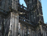 Cologne (Koln) Cathedral of St. Peter and St. Mary, detail of buttresses and gargoyles, High Gothic, Cologne, Germany