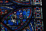 Sens Cathedral, St. Etienne (St. Stephen), North transept, window J, Saint Eustace Window, 13th century,  Gothic stained glass, France.