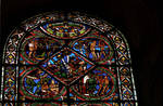 Sens Cathedral, St. Etienne, apse window L, Good Samaritan Window, 13th century, Gothic, stained glass, France.