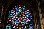 Sens Cathedral, North transept rose window, 1516.  62 angelic musicians surrounding Christ in the center, Flamboyant Gothic, stained glass, France.