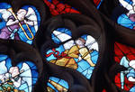 Sens Cathedral, North transept rose window, detail of angels plays musical instruments, 1516, Flamboyant Gothic, stained glass, France.