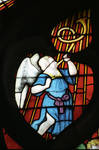 Sens Cathedral, St. Stephen's Cathedral, Angelic Musician Blowing a Trumpet, detail of north transept rose window, Flamboyant Gothic stained glass, early 16th century, France