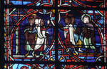 Rouen Cathedral, Sts. Peter and Paul Window, Apse, window 26, section 3, dispute of the gentiles and the Jews in front of Paul's house with Paul on the right