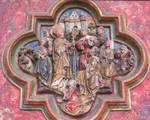 Amiens Cathedral, choir screen detail, bishop saint
