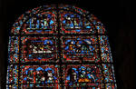 Sens Cathedral, St. Etienne (St. Stephen), apse, Window K, Bay 17, 13th century, Prodigal Son Window, Gothic stained glass, France.