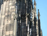 Cologne (Koln) Cathedral of St. Peter and St. Mary, detail of buttresses and pinnacles, 13th century, High Gothic, Cologne, Germany