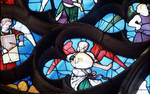 Sens Cathedral, St. Stephen's Cathedral, Angelic Musician Plays Lute, detail of north transept rose window, Flamboyant Gothic stained glass, early 16th century, France.
