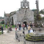 San Andres De Hio Church, facade and base of the Cruceiros, 12th century, Romanesque, Hio, Galicia, Spain