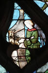 Sens Cathedral, St. Stephen's Cathedral, Angelic Musician Plays Organ, detail of north transept rose window, Flamboyant Gothic stained glass, early 16th century, France.