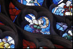 Sens Cathedral, St. Stephen's Cathedral, Angelic Musician Plays Tambourine, detail of north transept rose window, Flamboyant Gothic stained glass, early 16th century, France.