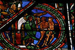 Sens Cathedral, St. Etienne (St. Stephen), apse window L, Good Samaritan Window, Expulsion from the Garden of Eden, 13th century, Gothic, stained glass, France.