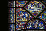Canterbury Cathedral, detail of Redemption Window, , Anointing the body of Christ (right), Gothic stained glass, c. 1200-1207, England.
