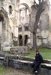 Jumieges Abbey, transept, Anglo-Norman Romanesque and Gothic architecture, France.