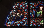 Rouen Cathedral, Good Samaritan Window (detail of apex), angel swings censer, Christ enthroned