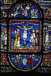 Canterbury Cathedral, detail of Redemption Window, Corona Chapel, [T] Sacrifice of Isaac; [C] Crucifixion; [B] Joshua's Spies in Canaan (the Grapes of Eschol), Gothic stained glass,  c. 1200-1207, England