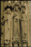 Chartres Cathedral, Kings and Queens, Royal Portal, west facade, south portal, south side jamb figures, c. 1145, Early Gothic sculpture, France.