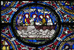 Canterbury Cathedral, Third Typological Window, roundel, Miraculous Draught of Fishes, North Choir aisle, n. XIV, Methuselah Master, late 12th century, Early Gothic stained glass, England