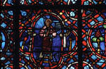 Rouen Cathedral, Good Samaritan Window (detail of center under the apex), the indifferent Levite