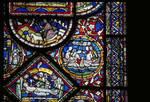 Canterbury Cathedral, detail of Redemption Window, Anointing the body of Christ (bottom left), Jonah swallowed by the Whale (r), Gothic stained glass, c. 1200-1207, England.