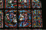 Angers Cathedral, St. Maurice, St. Catherine of Alexandria Window, Nave, north wall, second bay, 12th century, Gothic stained glass, France.