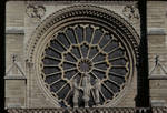 Notre Dame de Paris, detail of central rose window with figures, west facade, c.1200-1225, High Gothic  architecture, France.