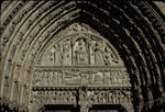 Notre Dame de Paris, tympanum of St. Anne Portal, Enthroned Virgin and Child, south portal of west facade, before 1184, High Gothic sculpture, France.