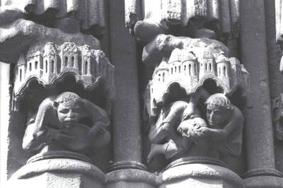 Amiens Cathedral, detail of jamb figure socles, south transept portal