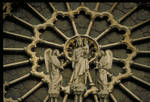 Notre Dame de Paris, detail of central rose window with figures of Virgin and Child flanked by angels, west facade, c.1200-1225, High Gothic  architecture, France.