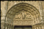 Chartres Cathedral, Royal Portal, central portal, Tympanum, Christ in Majesty with Four Evangelist Symbols, mid-12th century, Early Gothic sculpture, France.