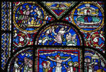 Canterbury Cathedral, detail of Redemption Window, Joseph Lowered into the Pit (l), Sacrifice of Isaac (center), Daniel in Babylon (r), Gothic stained glass, c. 1200-1207, England.