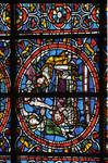 Angers Cathedral, St. Maurice, St. Vincent of Saragossa Window, Nave, north wall, third bay, 12th century, Gothic stained glass, France.