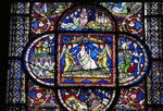 Canterbury Cathedral, detail of Redemption Window, Corona Chapel, East End Corona I, detail of the Resurrection of Christ, Gothic stained glass, c. 1200-1207, England.