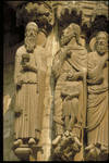 Chartres Cathedral, Old Testament jamb figures including (from the left) Melchizedek, Abraham with Isaac, Moses, Samuel, and David, on the east side of the central portal of the north transept, c. 1205, High Gothic sculpture, France.