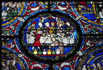 """Canterbury Cathedral, King Solomon and the Queen of Sheba; detail of roundel from the """"""""Biblia Pauperum"""""""" (I) window, north aisle of the choir, Gothic stained glass,  late 12th century, England"""