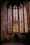 Sainte Chapelle, stained glass, choir chapel with altar