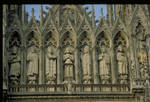 Reims Cathedral, upper west facade, row of kings and saints, 13th century, High Gothic sculpture,  France