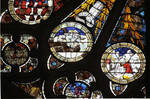 Angers Cathedral, St. Maurice, Last Judgment of Christ, North Transept, rose window, 15th century, Gothic stained glass, France.