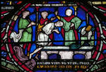 Canterbury Cathedral, Becket Miracle Window, Trinity Chapel, Gothic stained glass, c. 1213-1216, England.