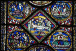 Canterbury Cathedral, detail of Redemption Window, Sampson Sleeping with Delilah (l), Anointing the body of Christ (center), Jonah swallowed by the Whale (r), Gothic stained glass, c. 1200-1207, England.