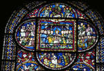 Canterbury Cathedral, detail of Redemption Window (top), Corona Chapel, East End Corona I, detail of the Pentecost (c), Moses Consecrating Aaron (l), Jethro before Moses (r), Gothic stained glass, c. 1200-1207, England.