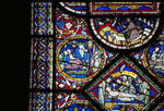 Canterbury Cathedral, detail of Redemption Window, Sampson in Gaza (left), Anointing the body of Christ (lower), Gothic stained glass, c. 1200-1207, England.