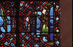 Rouen Cathedral, Good Samaritan Window (detail), the innkeeper awaits them at the door to the inn