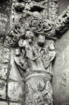Carrion de los Condes, Church of Santiago, portal. Column with angel on shaft with capital of the just soul.