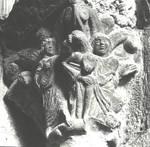 San Juan de la Pena (St. John of the Rock), the Annunciation, capital from the cloister, Romanesque, 12th century, Huesca, Aragon, Spain