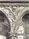 Bourges Cathedral, west facade, spandrel sculpture of people drowning in the great flood, Noah cycle