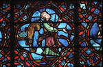 Rouen Cathedral, Good Samaritan Window (detail), the Good Samaritan gets down from his horse and walks towards the wounded traveler