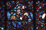 Rouen Cathedral, Good Samaritan Window (detail), Good Samaritan takes a wounded traveler to the city