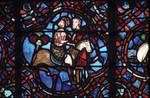 Rouen Cathedral, Good Samaritan Window (detail), Good Samaritan takes a wounded traveler to the city